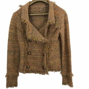 One Girl Who Marled Frayed Detail Cardigan Sweater